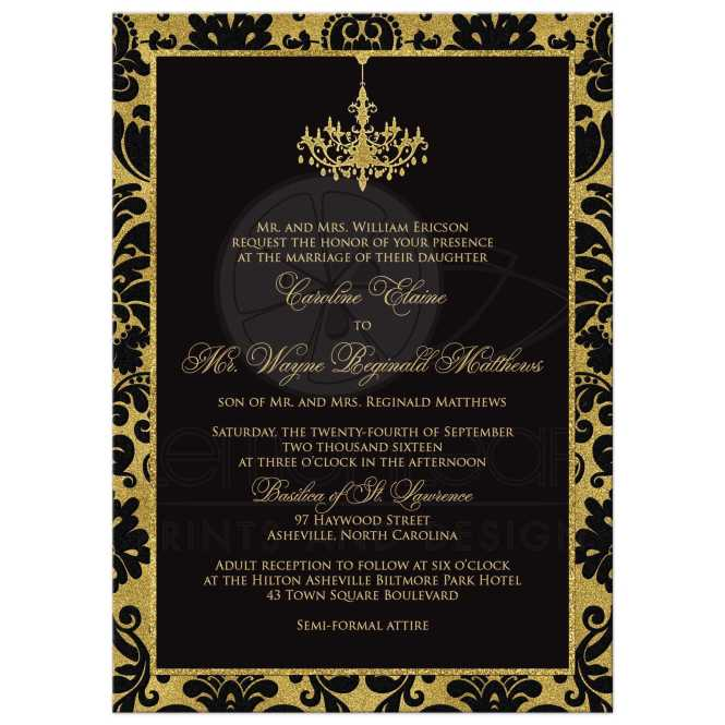 Black Damask Faux Gold Foil