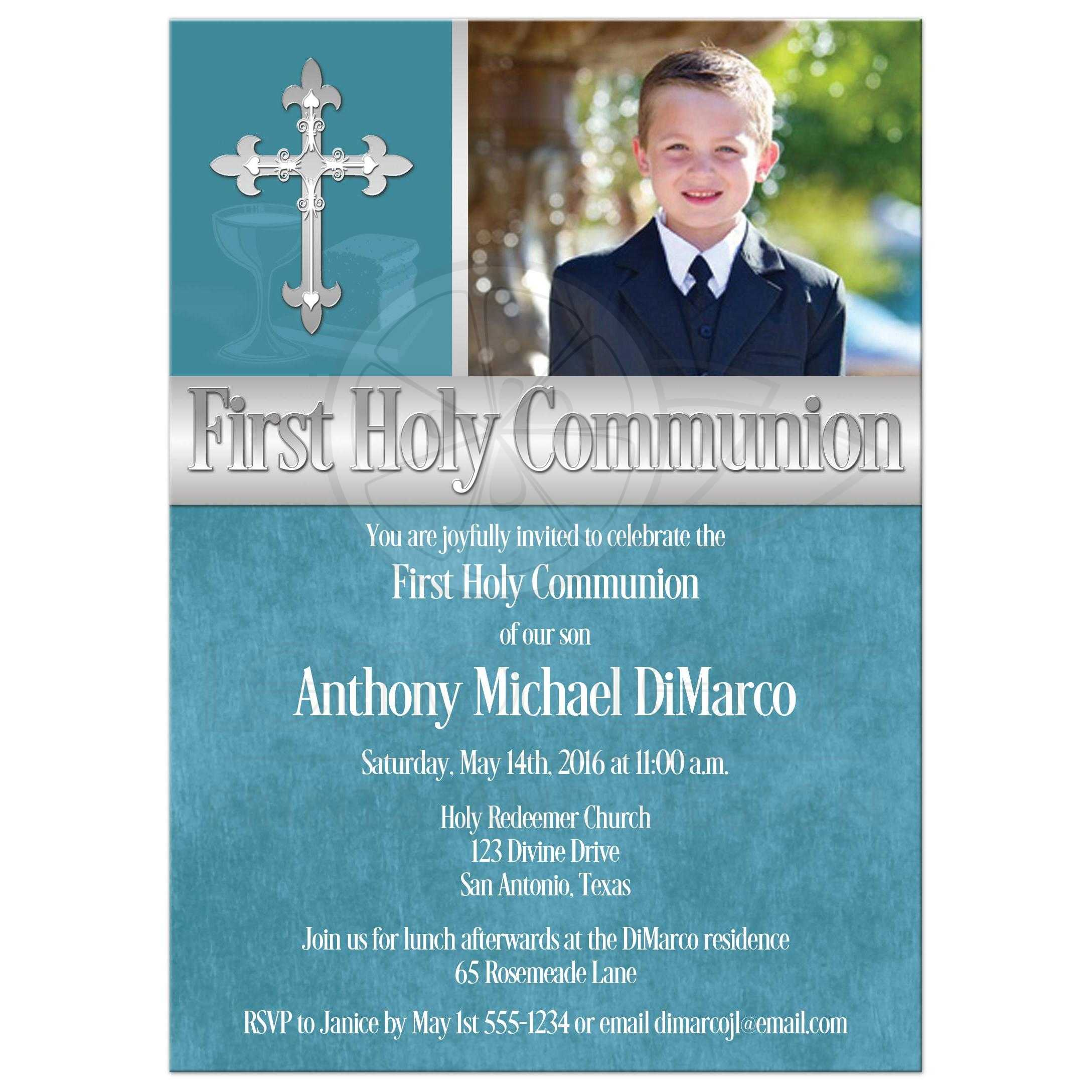 first holy communion invitation photo template teal blue