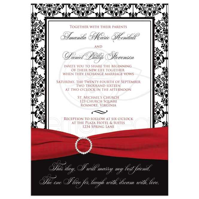Wedding Invitation Black White Damask Printed Red Ribbon Jewel Brooch