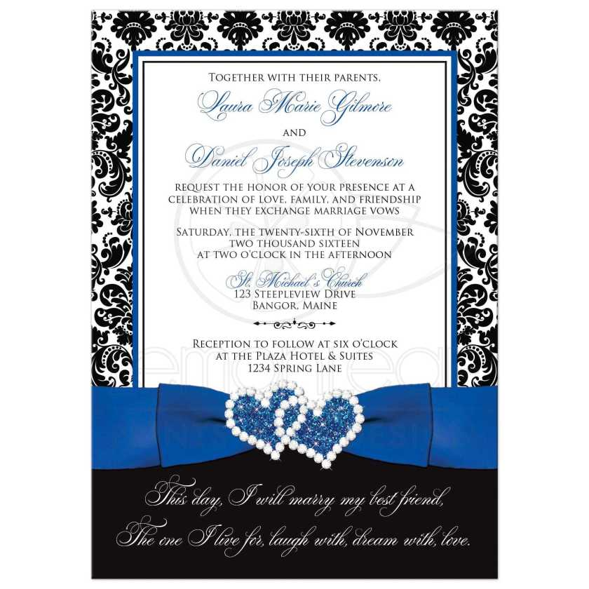 Black Damask With Royal Blue Wedding Invitations