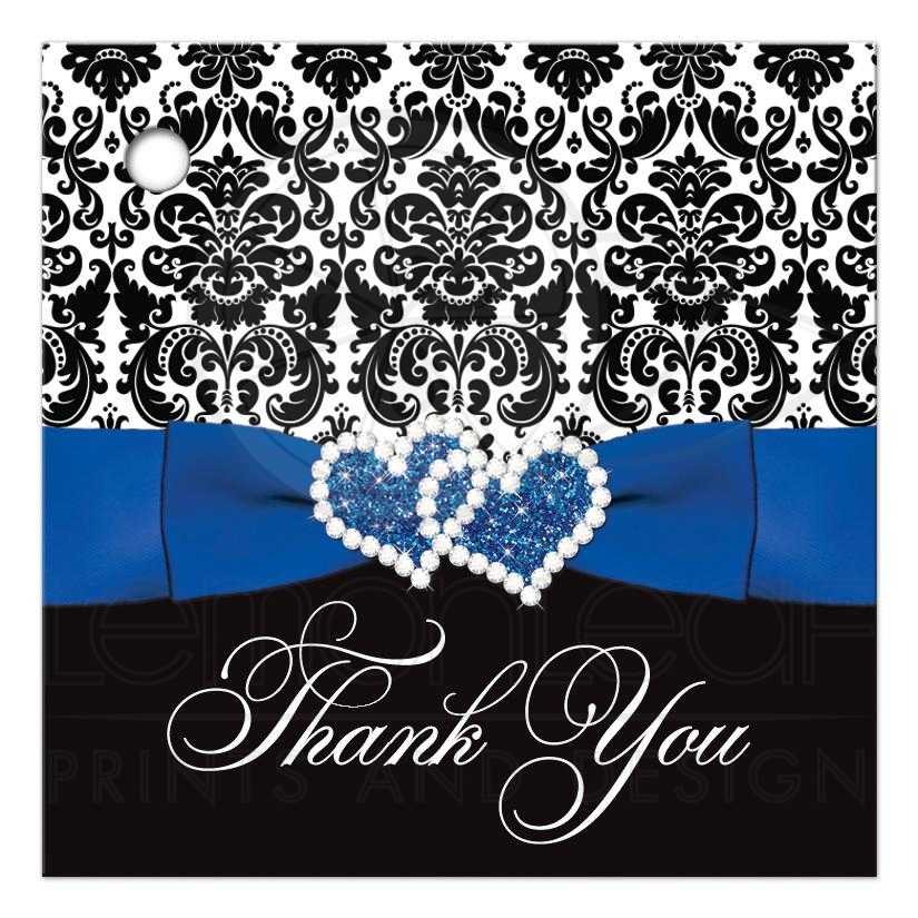 Great Royal Blue Black And White Damask Wedding Favor Thank You S With Ribbon