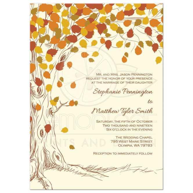 Fall Tree Wedding Invitation Autumn Colorful Leaves