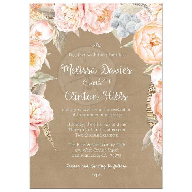 Pink Vintage Fl Peony Border Wedding Invitation Kraft