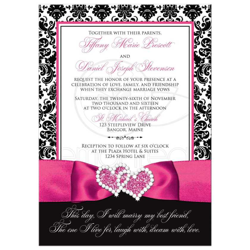 Great Black And White Damask Wedding Invitations With Fuchsia Pink Ribbon Jewelled Joined Hearts Brooch
