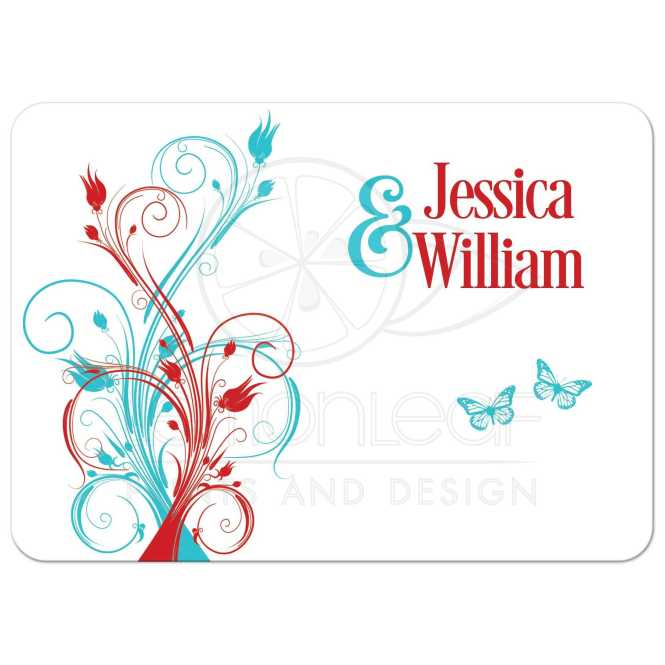 Wedding Invitation Turquoise Red White Fl Erflies