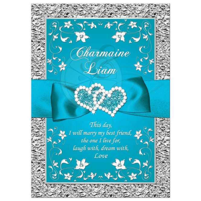 Wedding Invitation Turquoise Silver
