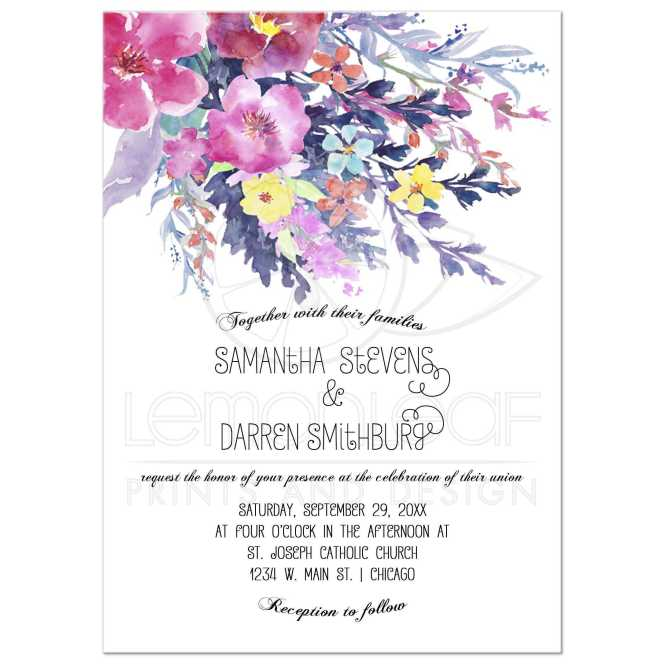 Modern Pastel Watercolor Fl Wedding Invitation