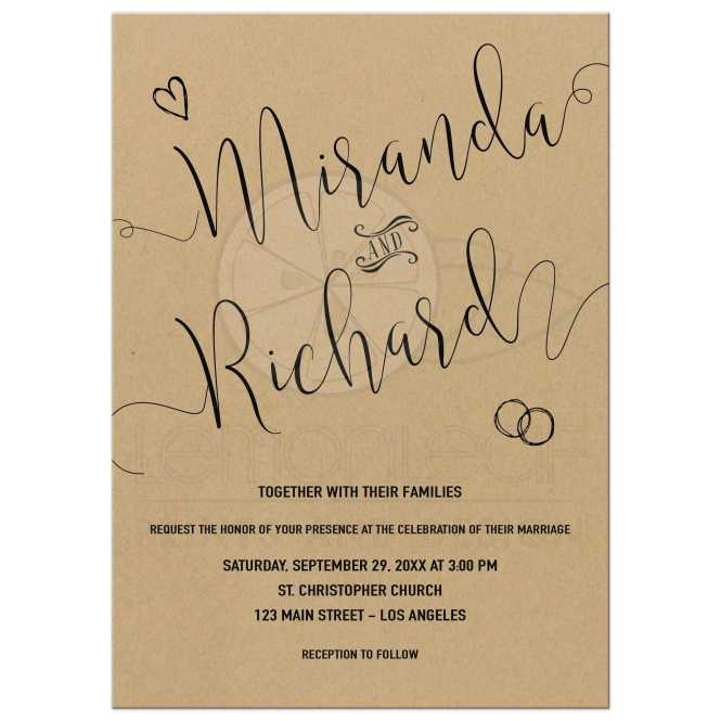 Modern Calligraphy Simulated Kraft Paper Wedding Invitation