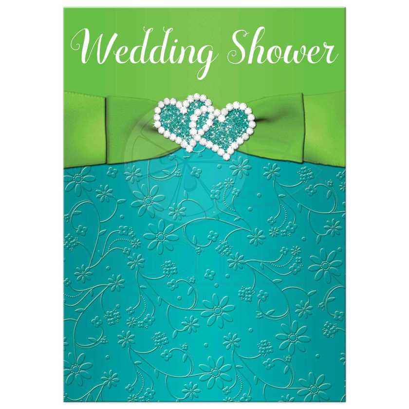 Turquoise Blue Lime Green And White Wedding Bridal Or Couple S Shower Invitations
