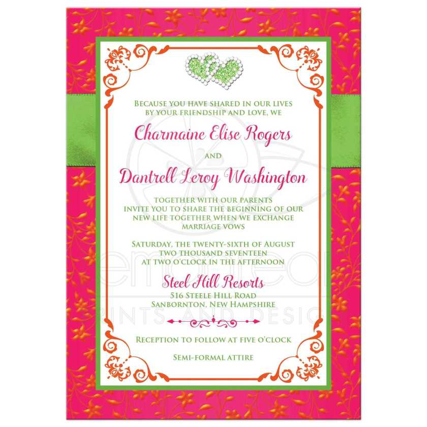 Fuchsia Pink Lime Green And White Wedding Invitation With Ribbon Glitter A