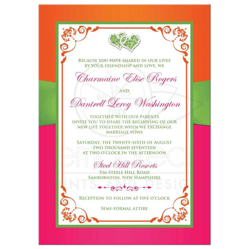 Fuchsia Pink Lime Green And White Wedding Invites With Ribbon Glitter A Pair
