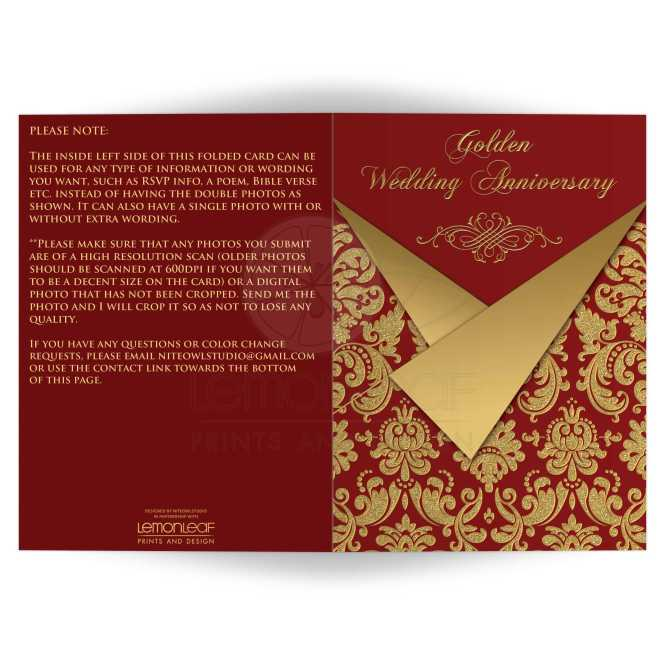 Red And Gold Victorian Damask Pattern 50th Wedding Anniversary Invitation With Scroll Work Frame