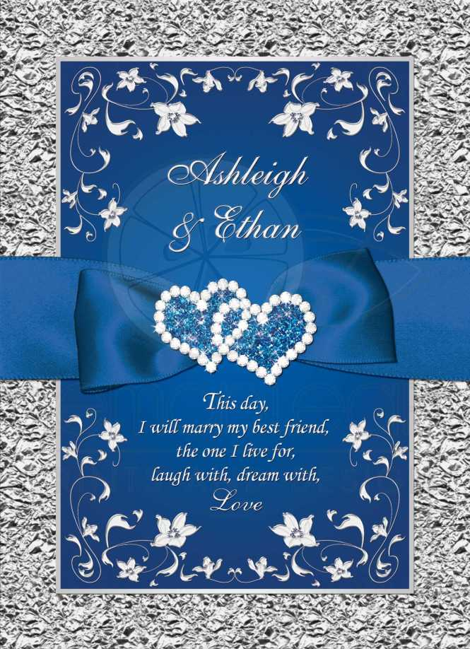 Royal Blue And Silver Grey Fl Wedding Invitation With Joined Jewel Hearts Ribbon