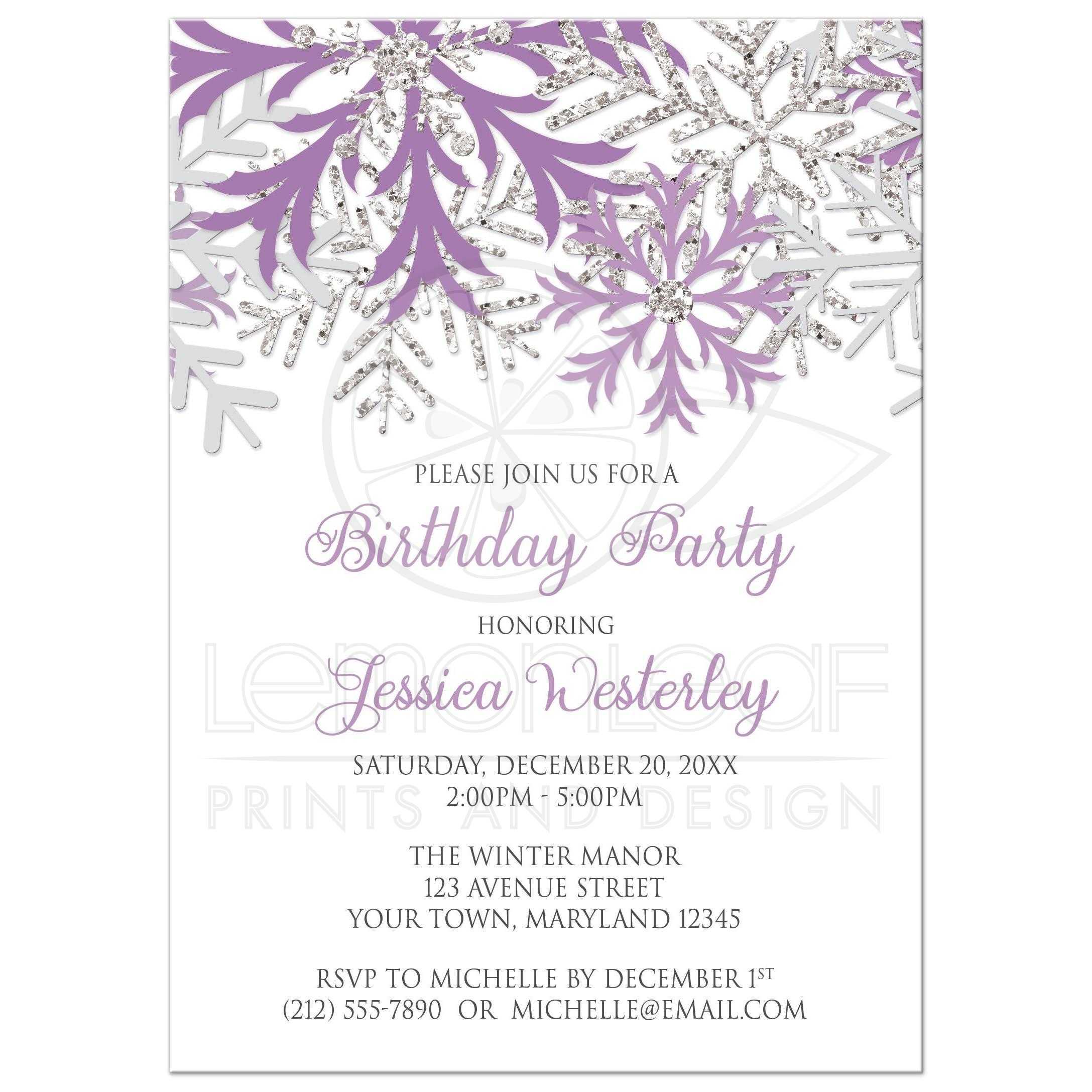 birthday invitations winter snowflake purple silver