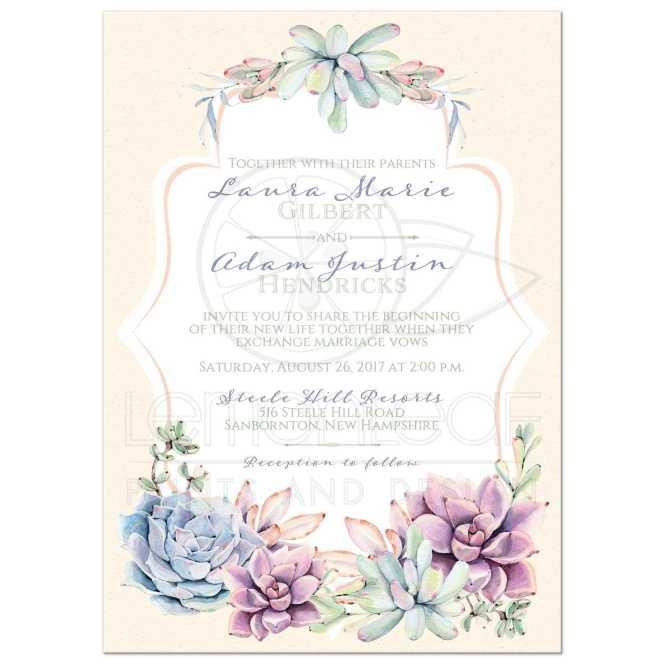 Pastel Wedding Invitation Watercolor Succulents Garden Peach Ivory Green Lavender