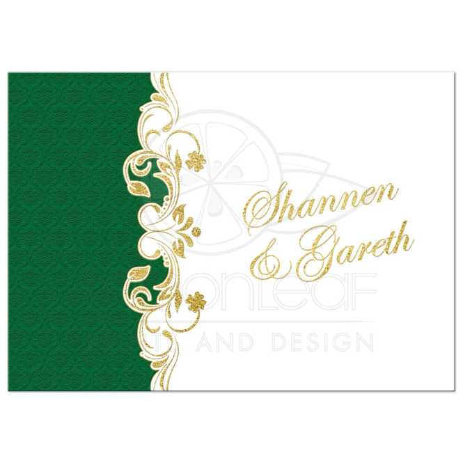 Lucky In Love Wedding Invitation White Green Gold Scrolls Shamrocks Damask