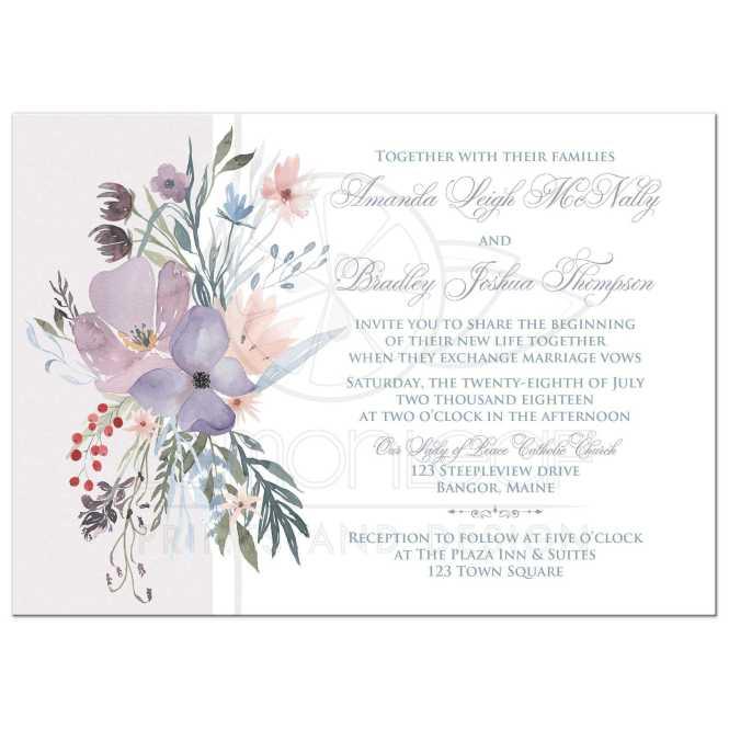Bohemian Wildflowers Wedding Invitation Smoky Lavender Blue Plum Peach