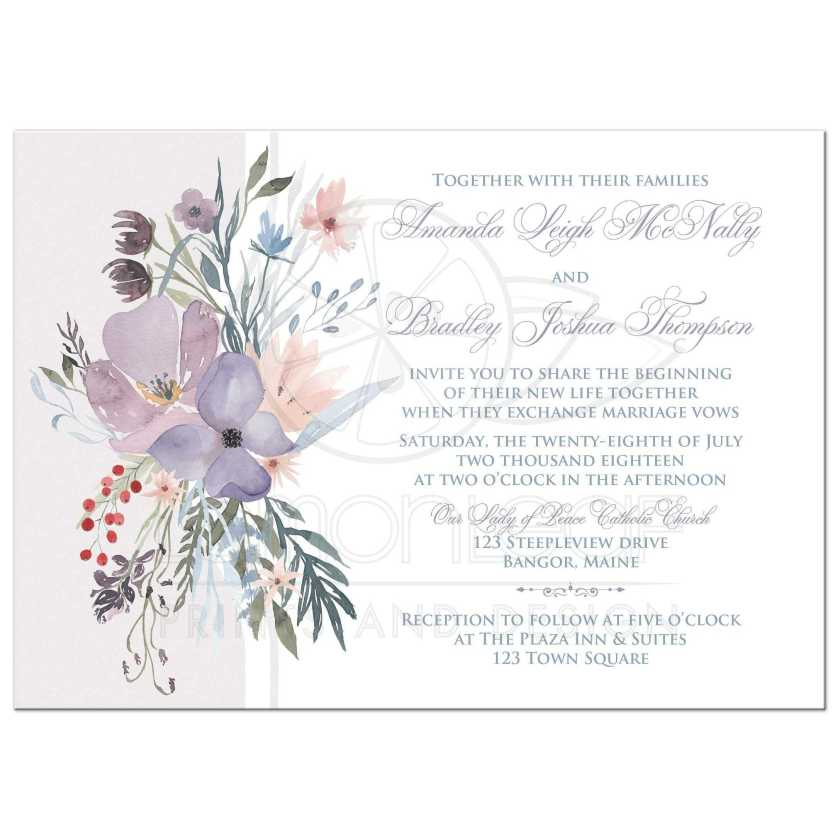 Watercolor Wildflowers Wedding Invitation Has A Beautiful Array Of And Greenery In Shades Smokey