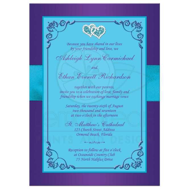 Wedding Invitation Purple Teal Blue Fl Printed Ribbon Bow Joined Jeweled Hearts