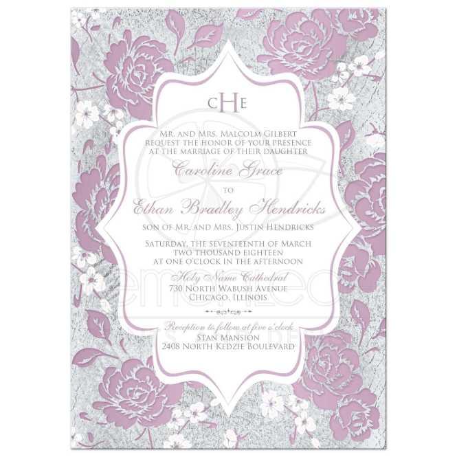 Mauve Fl Monogrammed Wedding Invitation