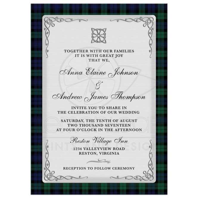 Scottish Campbell Black Watch Tartan Wedding Invitation Celtic Knot Flourish
