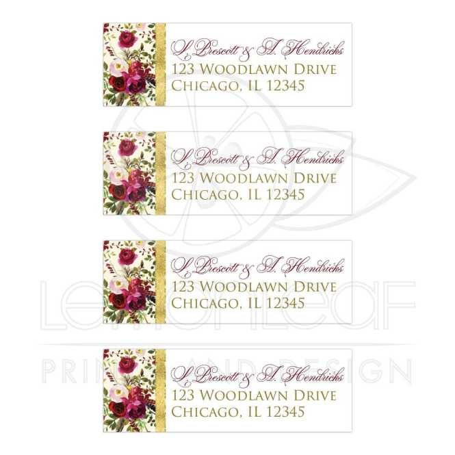 Beautiful Burgundy Watercolor Fl Feathers Wedding Address Labels With Simulated Gold Foil