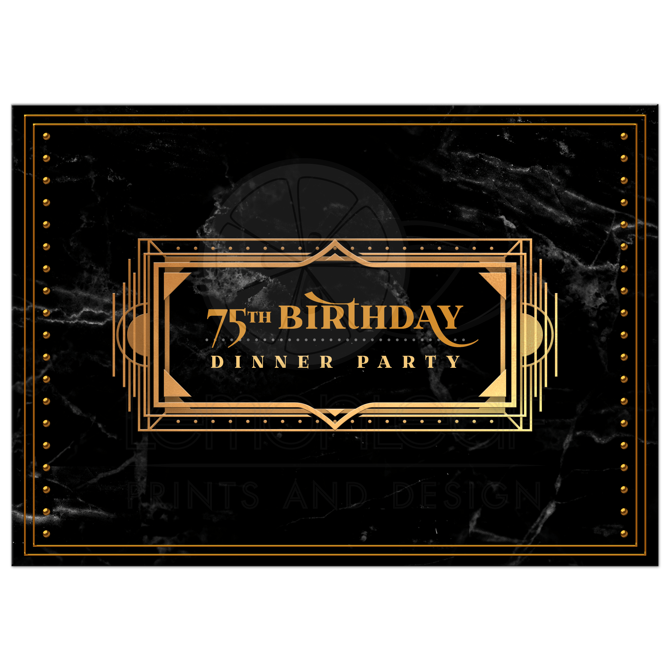 black and gold 75th birthday invitations art deco dinner party