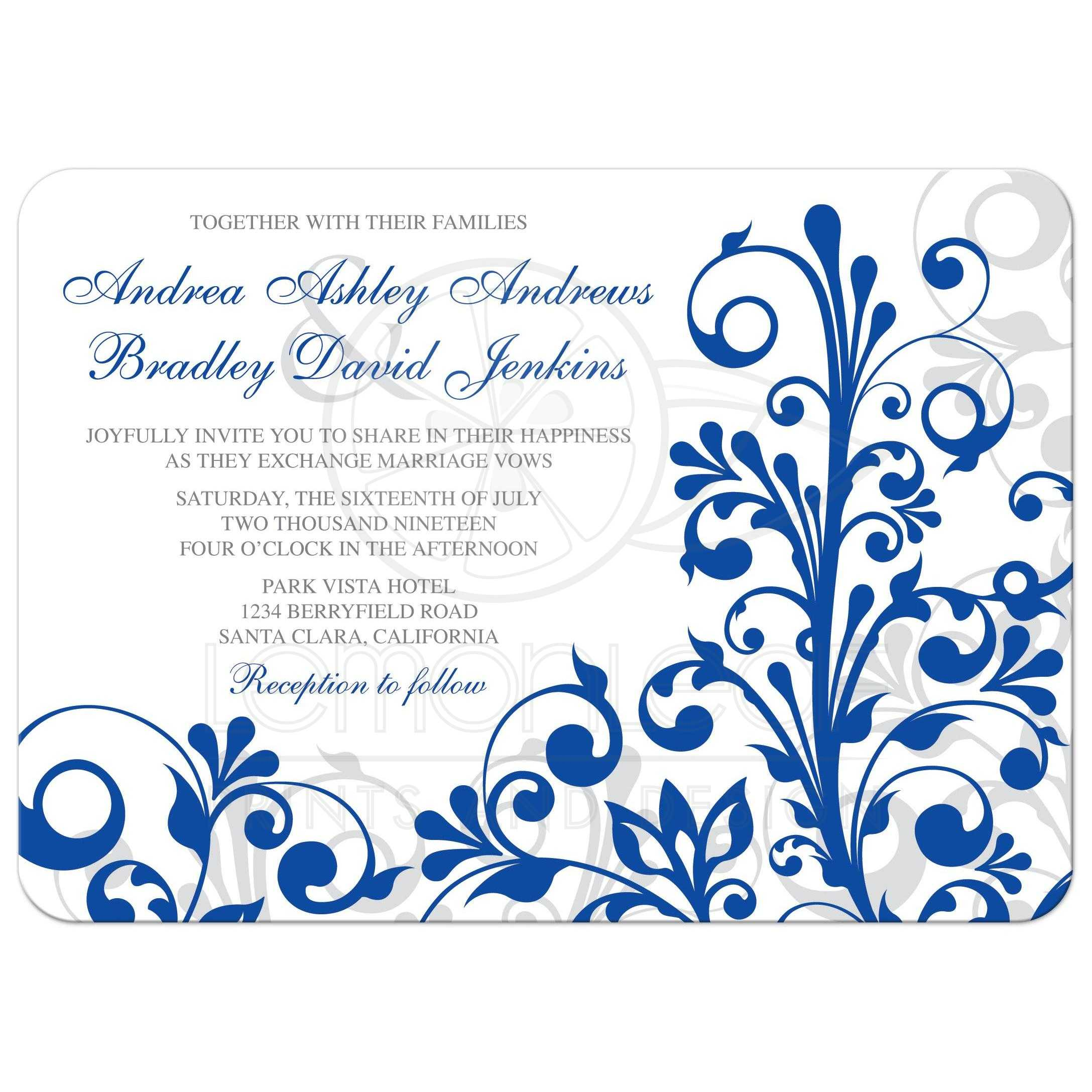 royal blue elegant floral wedding invitation