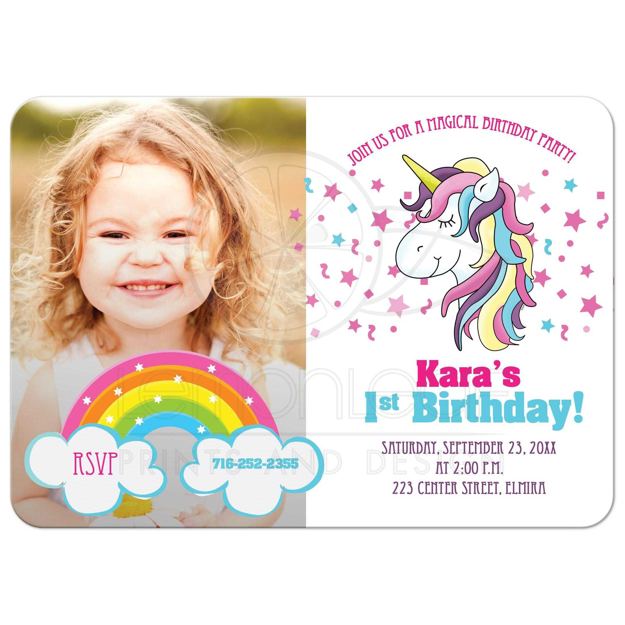 unicorn birthday photo invitation card