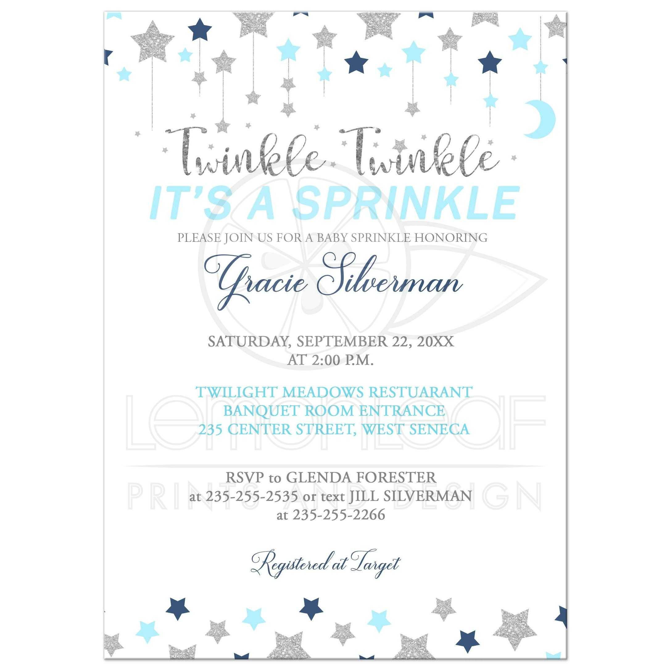 twinkle twinkle baby sprinkle blue and silver boy sprinkle baby shower invitation white