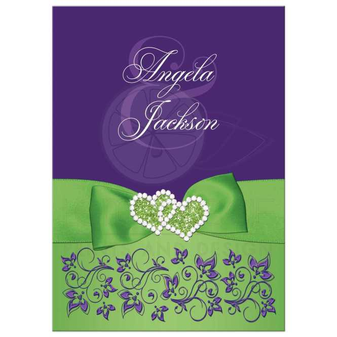 Lime Green White Purple Fl Wedding Invitation Printed Ribbon Jewels Glitter Double Hearts