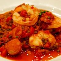 Spanish Prawns with Spicy Lentils & Chorizo
