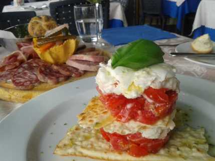 Lunch in Orta - burrata and tomatoes