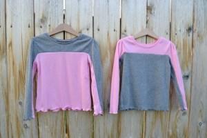 2 colorblock shirts using 2 plain shirts:  Tutorial