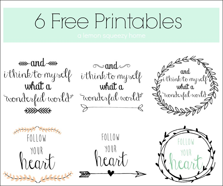 6 Free Printables // lemon squeezy home