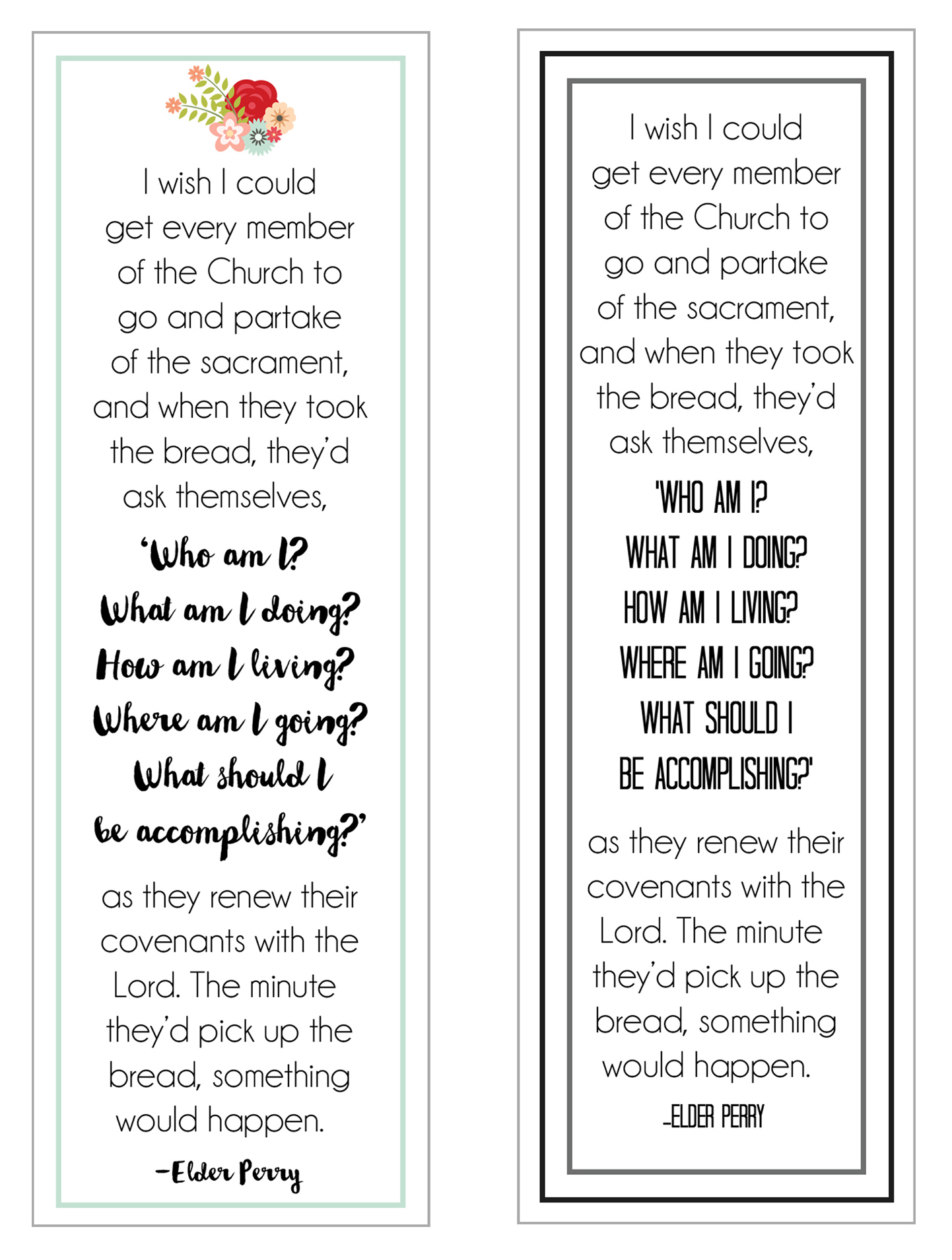 Sacrament Bookmarks {Elder Perry} // lemon squeezy home