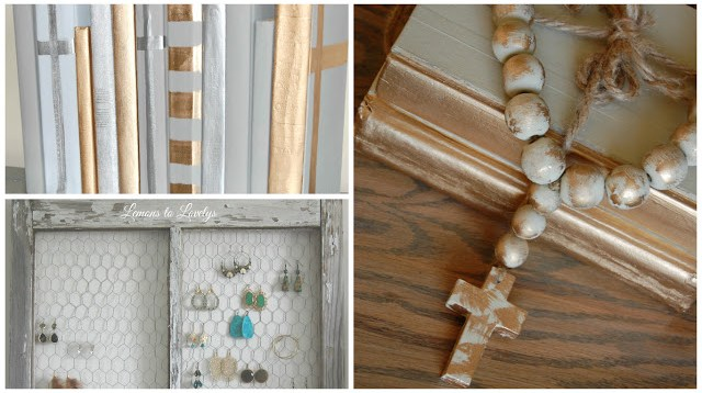 3 easy DIY gifts: painted books, decorative beads and cross, jewelry holder from an old window.  All 3 tutorials on www.lemonstolovelys.blogspot.com