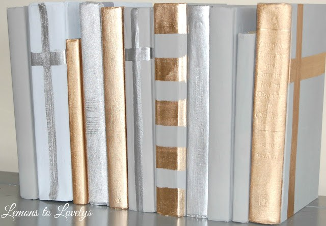 Painted decorative books make the perfect, inexpensive gift! Details on how to DIY on www.lemonstolovelys.blogspot.com