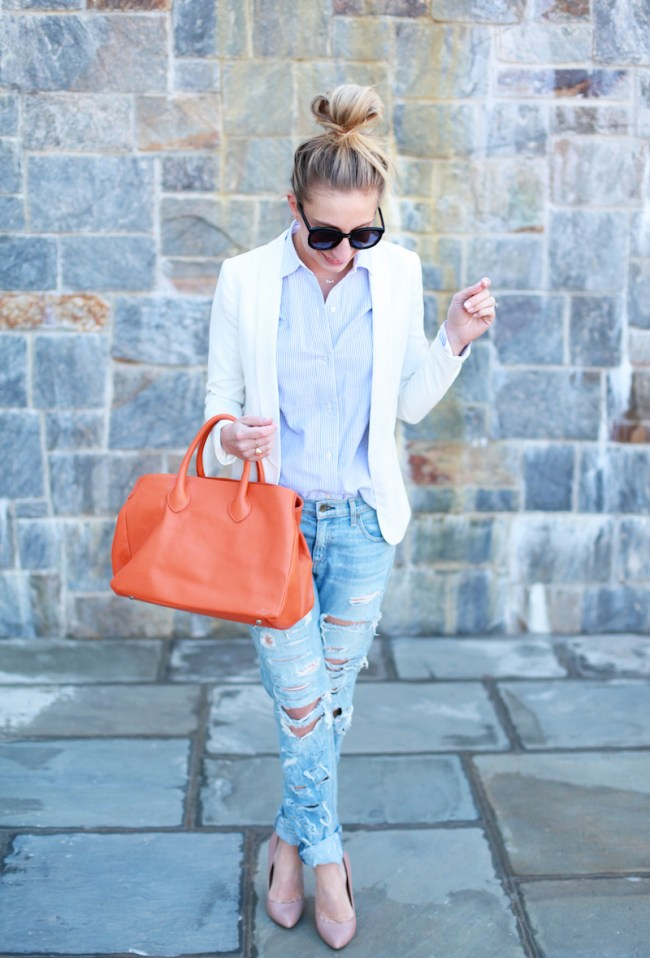 How to make ripped denim preppy