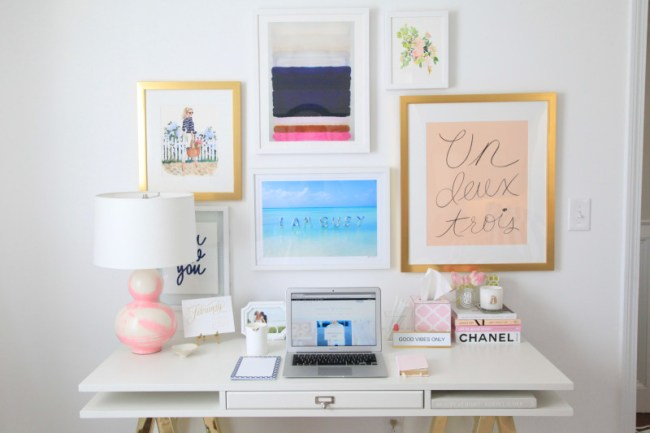 Lemon Stripes home office gallery wall