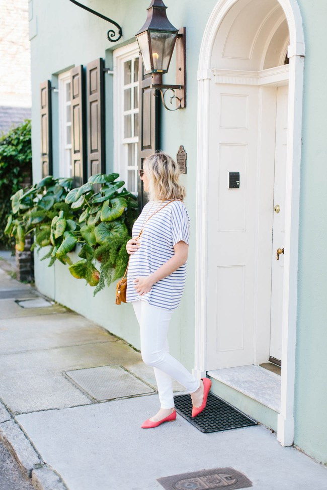 Julia Dzafic of Lemon Stripes at 24 Weeks Pregnant