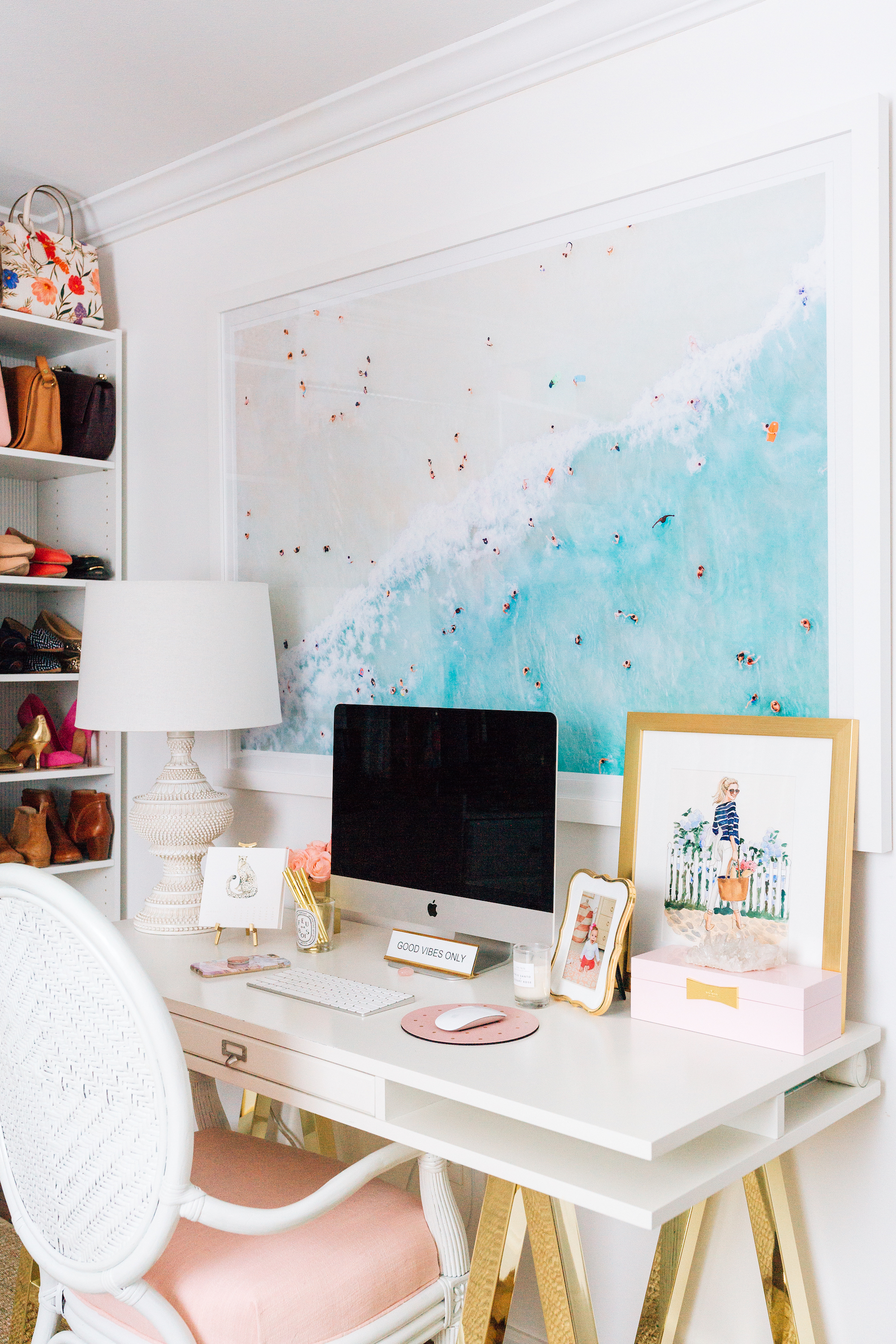 Lemon Stripes Home Office with Gray Malin