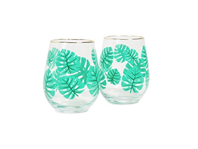 Palms Stemless Wine Glasses