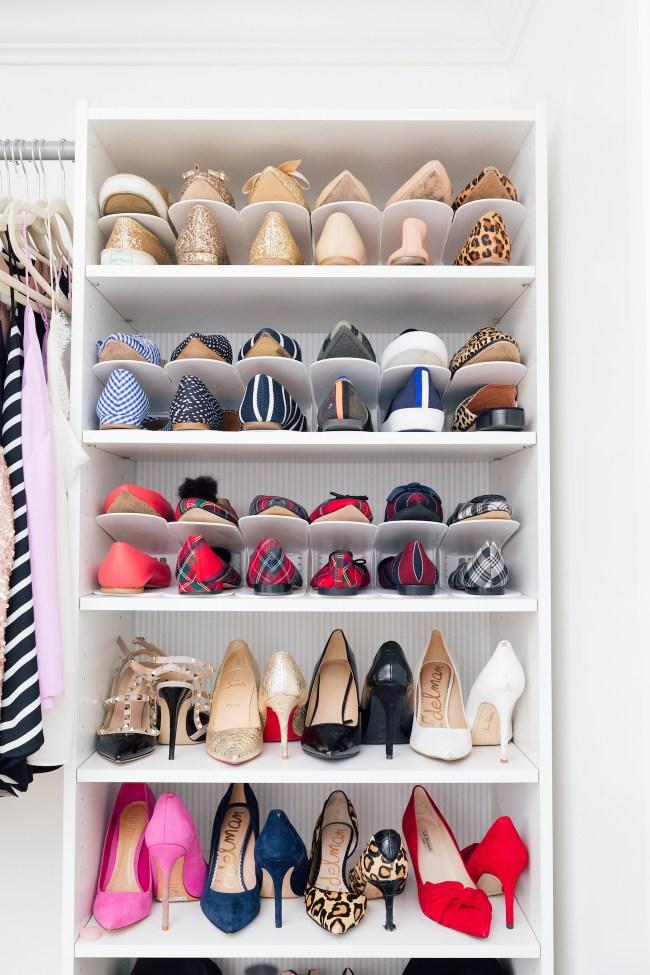 Lemon Stripes Organized Shoe Shelves