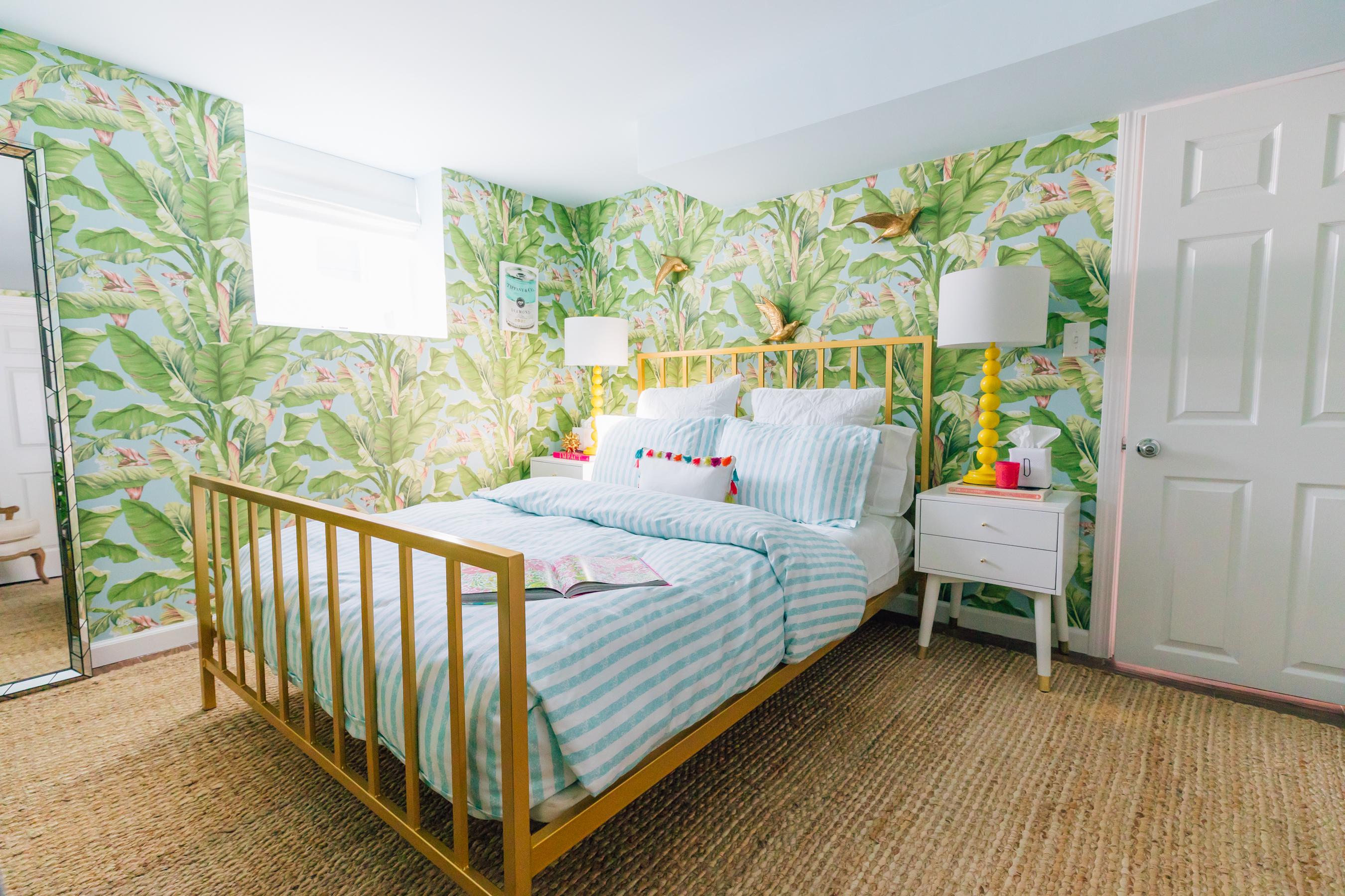 Our Tropical Guest Room Lemon Stripes