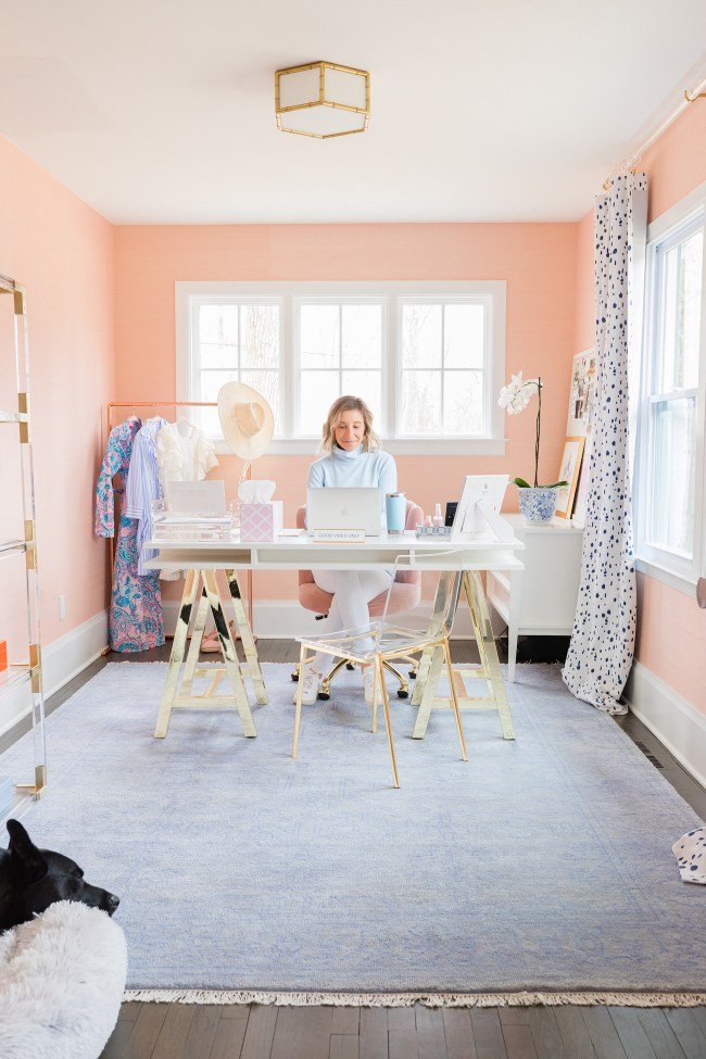 Pink and blue home office