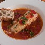 Cod braised in tomato saffron broth