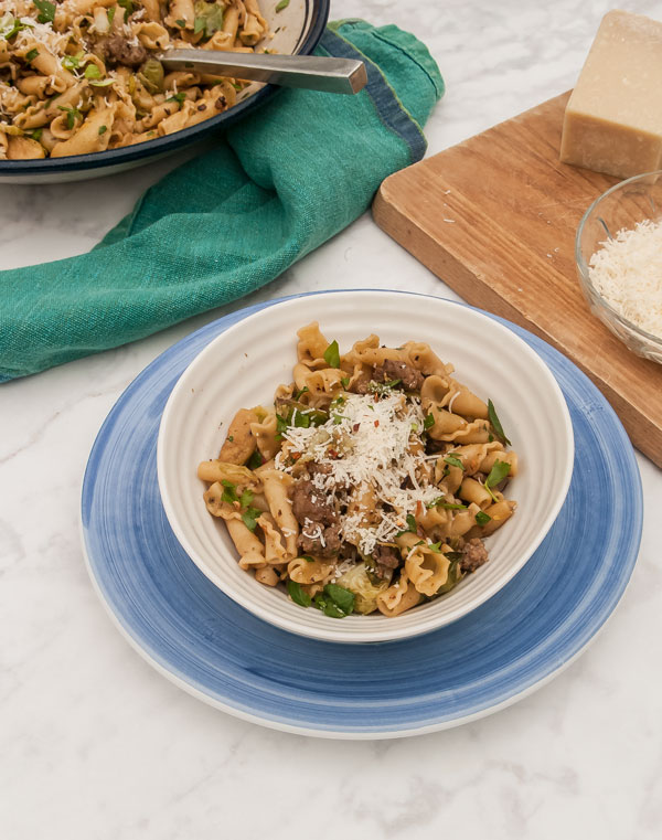 Pasta Dinner with Brussels Sprouts and Sausage