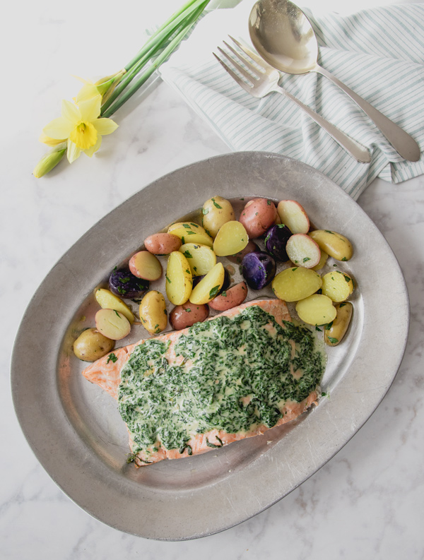 Oven Poached Salmon with Spinach Butter Sauce recipe.