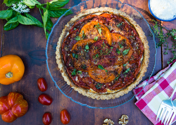 Tomato Tart recipe with Ricotta and Mediterranean Spices.